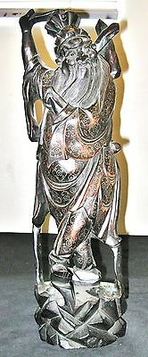 Antique Chinese  Hand Carved Wood Statue Immortals With Wire  Inlay 16""