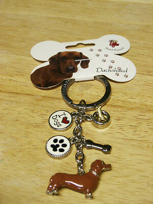 LITTLE GIFTS BRAND DACHSHUND/WEINER DOG KEY CHAIN/RING WITH 5 CHARMS   NWT