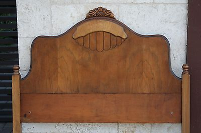 Antique Craftsman Hand Carved Figured Maple insert Solid Wood Twin bed headboard