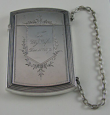 ANTIQUE VICTORIAN WHITING STERLING SILVER CARD HOLDER CASE PURSE 1879