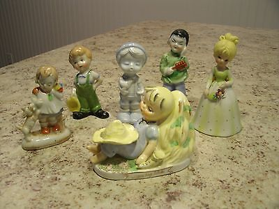 Vintage Mixed Lot of 6 Girl and Boy Figurines 3 Japan 1 Lefton 2 Unmarked