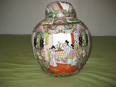 Antique Chinese porcelain jar hand painted with cover,NR