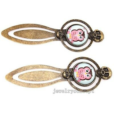 4pcs New Skull Shape Pink Owl Beading Bookmarks Jewelry Findings Craft On Sale J