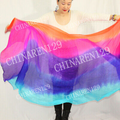 HAND MADE BELLY DANCE 100% SILK VEILS  five colors veils FREE SHIPPING + BAG