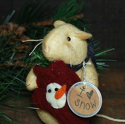 Primitive - Winter MOUSE Ornament holding Mitten - Fabric Mice - by Kathy