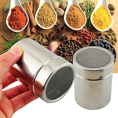 Stainless Steel Flour Icing Sugar Cappuccino Sifter + Lid Chocolate Shaker Cocoa