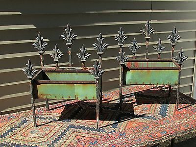 Antique Garden Planters Iron Copper and Wood