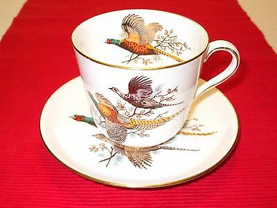 Vintage Oversize Hammersley Teacup and Saucer with Pheasants