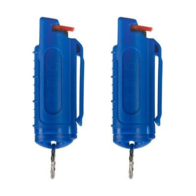 2 Police Magnum mace pepper spray .50oz blue molded keychain defense protection