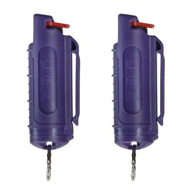 2 POLICE MAGNUM MACE PEPPER SPRAY .50oz with PURPLE MOLDED KEYCHAIN Self Defense