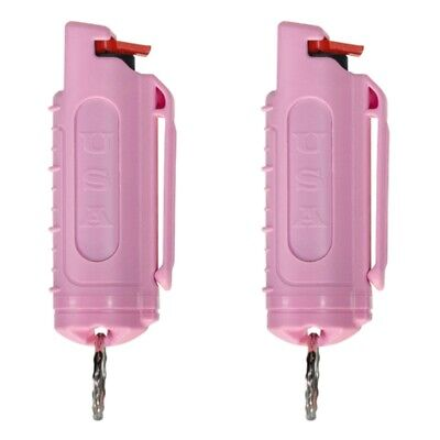 2 Police Magnum mace pepper spray .50oz pink molded keychain defense protection
