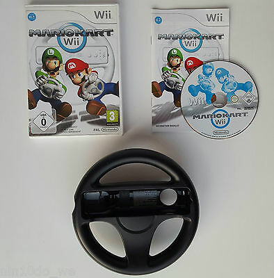 MARIO KART Wii+GENUINE BLACK MARIOKART STEERING WHEEL Super Cart Car Racing Game