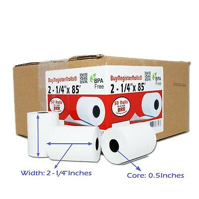 "2 1/4"" (58mm) 2.25"" WIDTH 85' 50 ROLLS IN A CASE THERMAL PAPER ROLLS 7/16"" CORE"