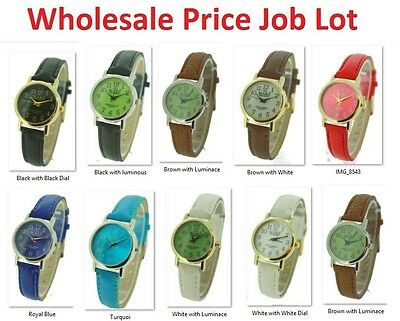 Job Lot of  5 x Brand New Mabz London Leather Strap Big Number Ladies Watches