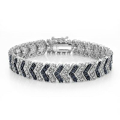 1.00 Carat TDW Treated Blue & White Diamond Chevron Bracelet in Brass