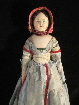 Antique Early Papier-Mache Doll *MILLINER'S MODEL* All Original in Wood Box