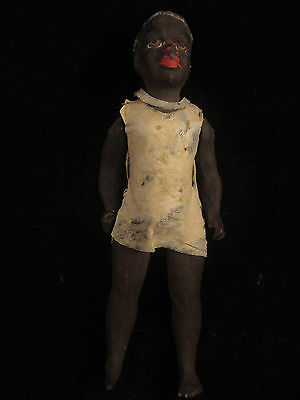 Antique Early Papier-Mache Doll African Boy Crude Solid Body Movable Arms 7 inch