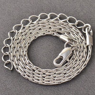 Children's Snake Bone Chain Necklace,9K Silver/White Gold Filled,15.3 Inch,Z4143
