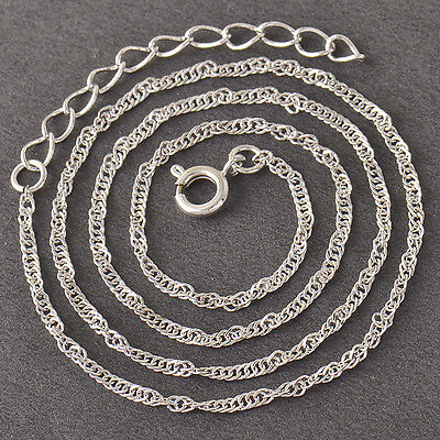 "Children's 9K Silver/White Gold Filled Water Wave Chain Necklace,15.3"",Z4176"