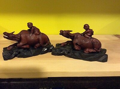 Chinese carved water buffaloes w/ boys riding circa 1920
