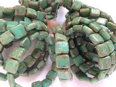 Jewellery Making Czech Pressed 8mm Squares - Turquoise Picasso - 15 Beads Strung