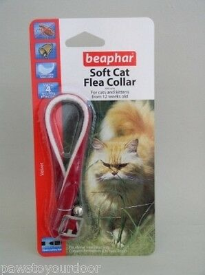 Cat kitten flea collar soft velvet Beaphar Black, Blue or Red 2, 3, 6 or 9 pack
