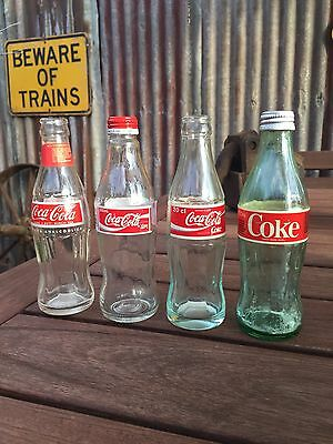 Group Lot 4 X Vintage Coke Coca Cola Glass Bottles Collectable. Empty