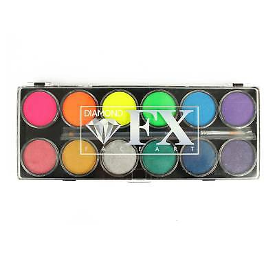 Diamond FX 12 Colour Face Paint Palette - Neon/Metallic!