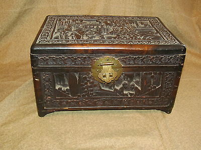 Old or Antique Carved Chinese Chest Small