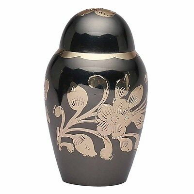 Small Black & Gold Floral Keepsake Memorial Urn, Brass Funeral Urn for Ashes UK