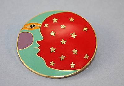 Vintage Laurel Burch Gold Plated Moonface Pin!
