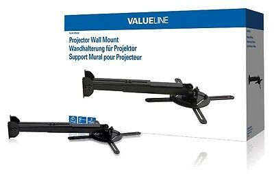 Black Full Motion Projector Wall Mount / Bracket with Tilt & Rotate Max 10Kg