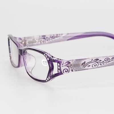Purple Women's Rhinestone Flower Spring Hinges Reading Glasses +1.00 to +4.00
