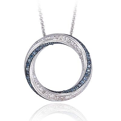 0.50ct TDW Blue & White Diamond Circle Necklace