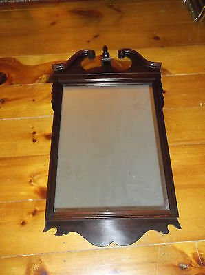 Large Antique Ornate Victorian Hanging Wall Mirror Mahogany Wood