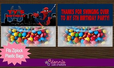 Spiderman Birthday Party Treat Bag Toppers Favors Personalized