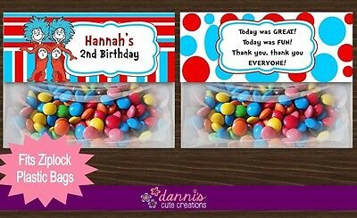 Thing 1 & 2 Dr. Seuss Birthday Party Treat Bag Toppers Favors Personalized