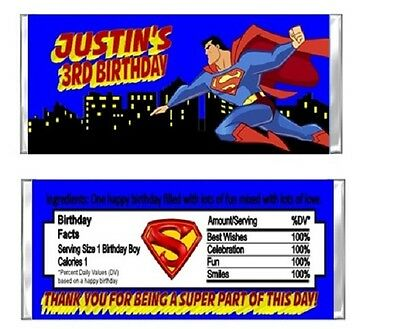 Superman Birthday Party Candy Wrappers Favors Personalized Custom