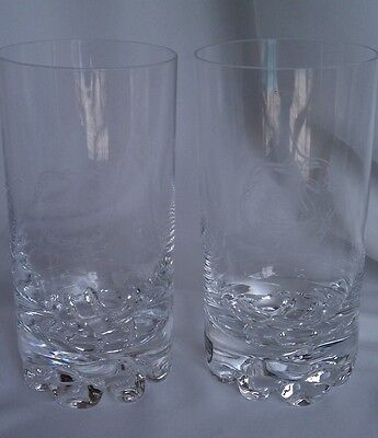 Two rare Orrefors crystal Erik etched swan highball glasses design Olle Alberius
