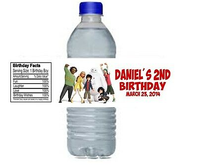 Big Hero 6 Birthday Party Water Bottle Labels Favors Personalized