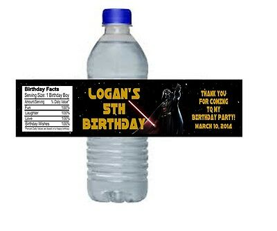 Star Wars Darth Vader Birthday Party Water Bottle Labels Favors Personalized