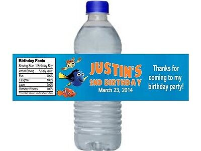 Nemo Dory Birthday Party Water Bottle Labels Favors Personalized Custom