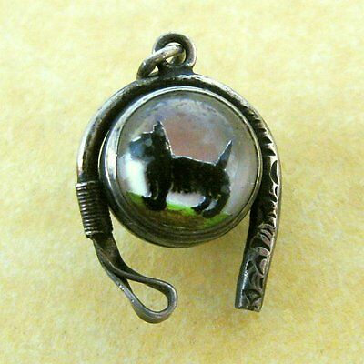 Antique Silver Charm Reverse Painted Crystal Scotty Dog Riding Crop Fox Hunting
