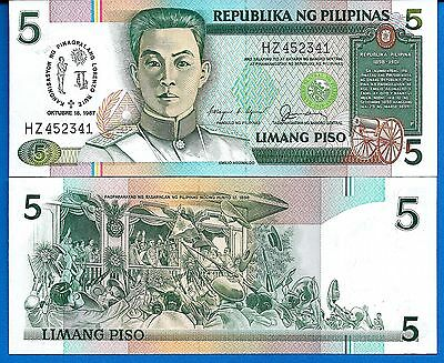 Philippines P-176  Five Piso Year 18.10.1987 Uncirculated FREE SHIPPING