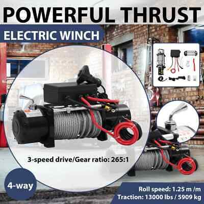 Electric Winch 12V Wireless 13000LBS/5909KG Steel Cable Rope ATV Boat Truck