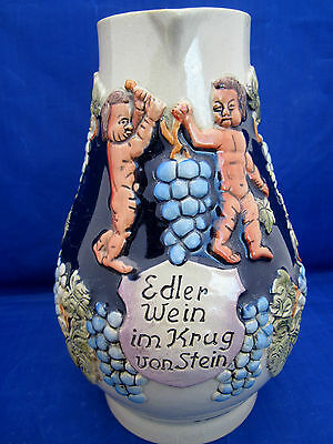 "Wine Pitcher German Art Pottery 1 Liter Naked Figures Carry Grapes Vines 8"" A++"