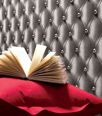888801 3D Leather Headboard Chesterfield Effect Feature Wallpaper Grey