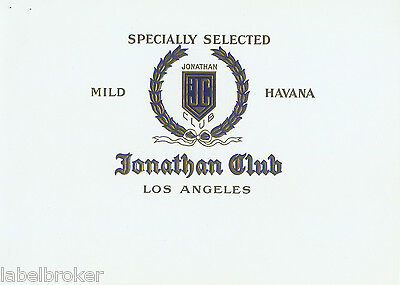 Cigar Box Label Vintage Inner Jonathan Club Los Angeles 1930S Embossed 2A