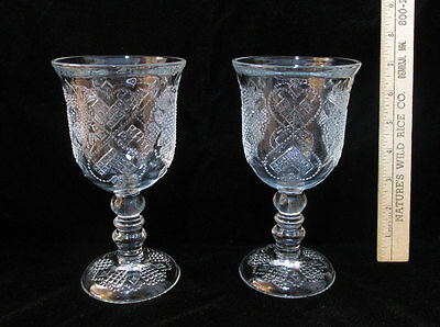 Pair Set 2 Vintage Avon Heart & Diamond Wine Goblets Glasses Clear Glass Texture