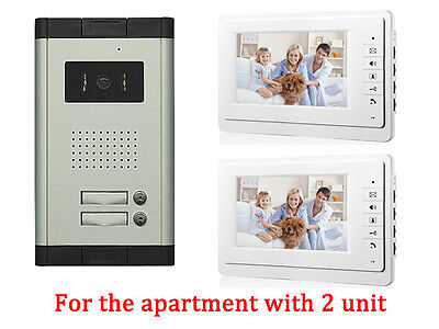 2 Unit Apartment Intercom Entry System 7'' Monitor Audio Wired Video Door Phone